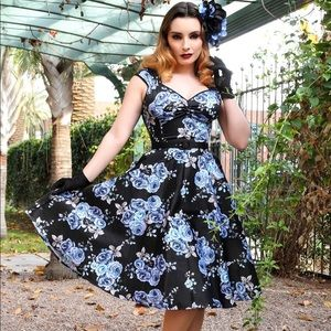Pinup Couture Blue Rose Printed Sateen Heidi Dress